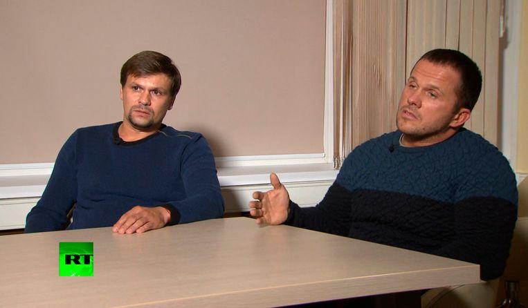 De twee agenten die Sergej Skripal vergiftigden in Salisbury en ontmaskerd werden, kwamen achteraf op Russia Today vertellen dat ze in die stad waren 'om de bekende kathedraal te zien'. Beeld AP
