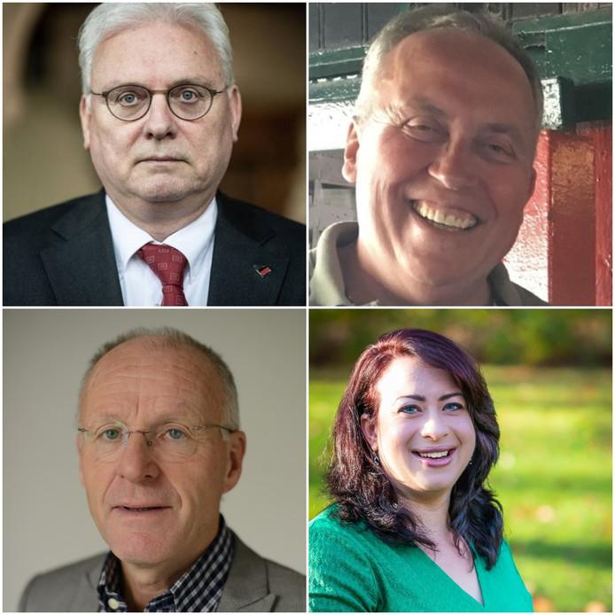 Vier Betuwse kandidaten voor de waterschapsverkiezingen. Vanaf linksboven, met de klok mee: Jan Zoetelief, Henry Peren, Esther Groenenberg, Jan Obbema.