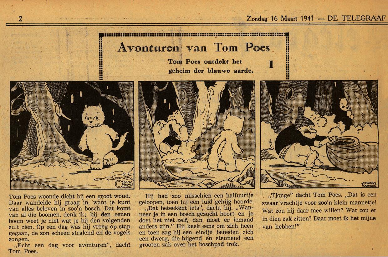 De eerste aflevering van Tom Poes, op 16 maart 1941 in De Telegraaf. Beeld @Stichting het Toonder Auteursrecht