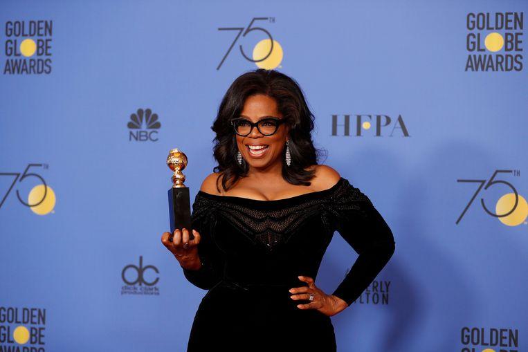 Oprah Winfrey droeg haar prijs op aan elke vrouw die 'ik ook' durft te zeggen en elke man die durft te luisteren
