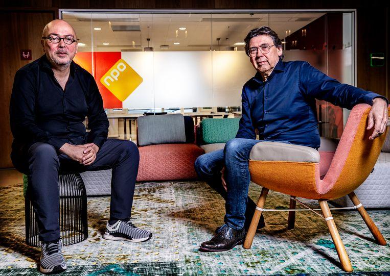 NPO-bazen Frans Klein (directeur Video) en Gijs van Beuzekom (netmanager NPO2). Beeld Pim Ras Fotografie
