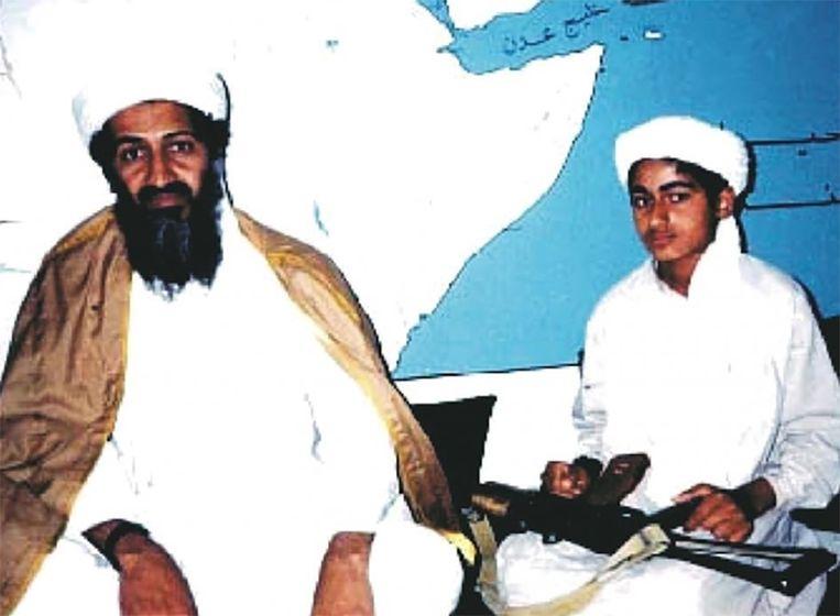Hamza Bin Laden met vader Osama Beeld rv