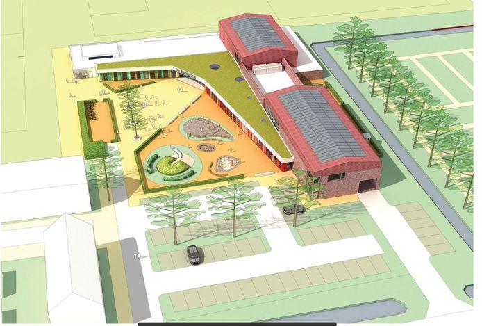 Schets van het nieuwe dorpshuis in Zwammerdam.