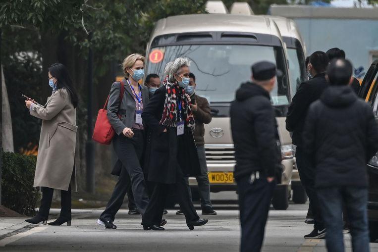 Marion Koopmans zaterdag bij het Wuhan Jinyintan Hospital in Wuhan. Beeld AFP