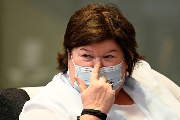 Maggie De Block, toen nog minister van Volksgezondheid. Beeld BELGA