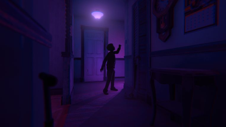 De videobeelden in 'Transference' vloeken niet echt met de virtuele wereld van de game dankzij de neongloed die over de game hangt. Beeld Ubisoft