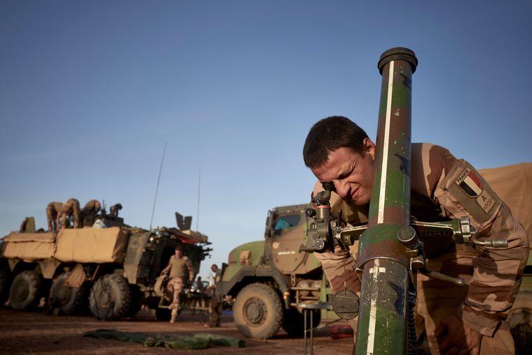 Franse soldaten in het grensgebied tussen Mali, Niger en Burkina Faso in november. Beeld AFP