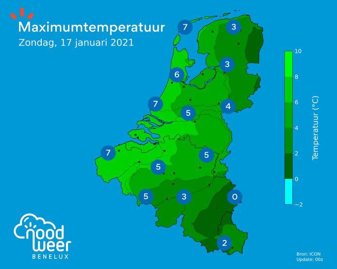 Zaterdag liggen de temperaturen rond het vriespunt, op zondag zijn de maxima overal positief en smelt de sneeuw weg in Vlaanderen.