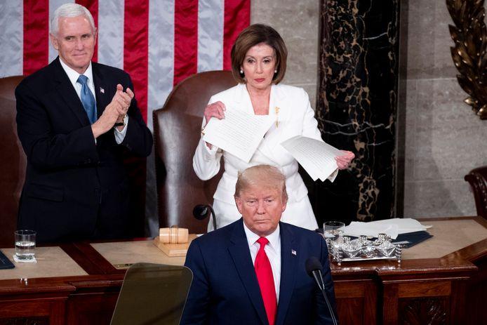 Le vice-président Mike Pence, Nancy Pelosi et Donald Trump