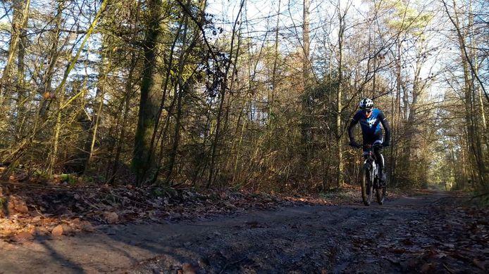 Mountainbiker op pad in de natuur.