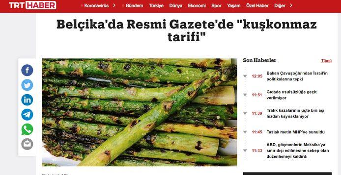 Ook de Turkse nieuwszender/site TRT Haber nam het nieuws over.