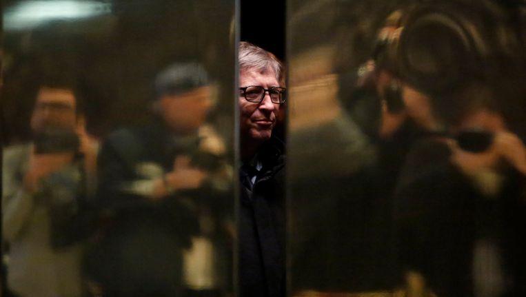 Medeoprichter van Microsoft, Bill Gates, bij zijn aankomst in de Trump Tower in New York gisteren. Beeld REUTERS