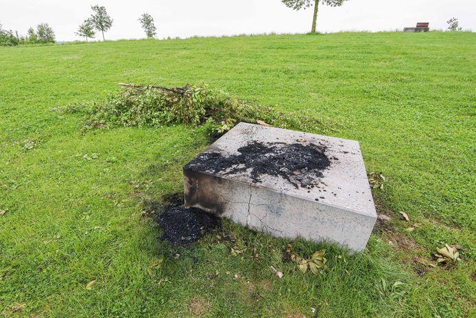 Door de aanwezige jeugd werden takken in brand gestoken.
