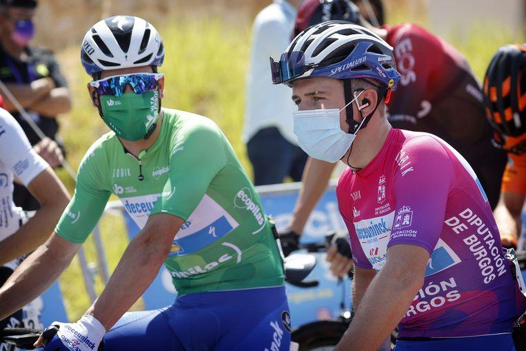 Almeida en Evenepoel tijdens de Ronde van Burgos vorig jaar. Beeld Photo News