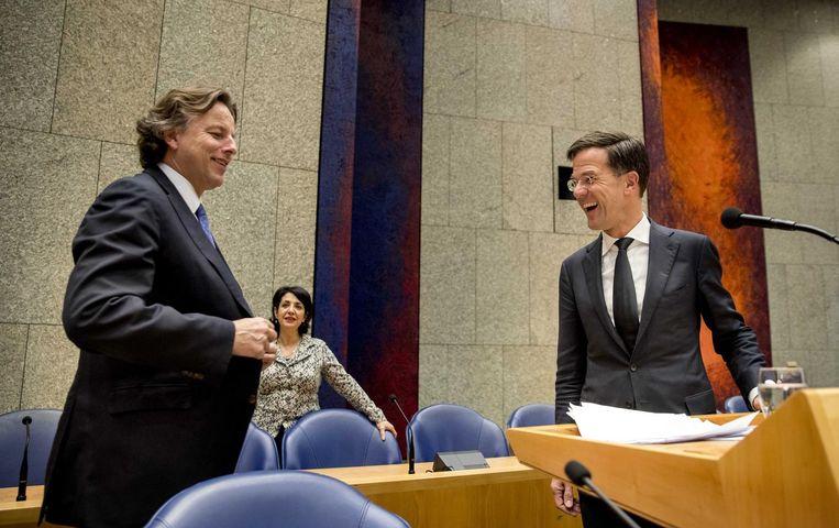 Rutte en minister Koenders tijdens het debat. Beeld anp