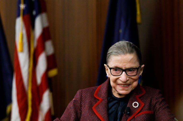 Ruth Bader Ginsburg tijdens een evenement bij New York Law School in 2018.  Beeld EPA