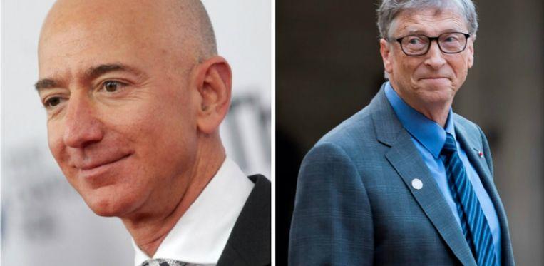 Links: Jeff Bezos. Rechts: Bill Gates.