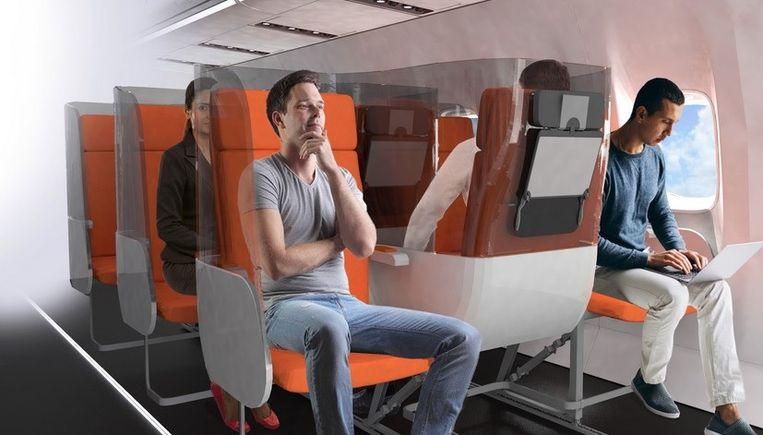 Onder meer de Italiaanse vliegtuiginrichter Avio Interiors komt met vernieuwende concepten om vliegtuigreizen snel weer mogelijk te maken. Beeld Aviointeriors
