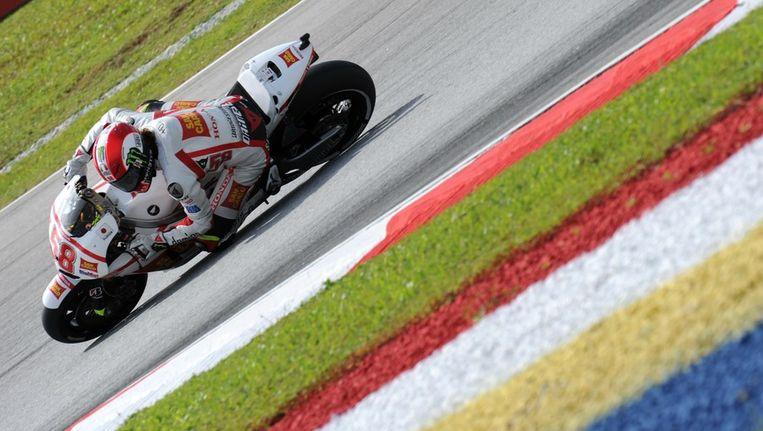 Motorcoureur Marco Simoncelli tijdens de training op het circuit van Sepang. Beeld afp
