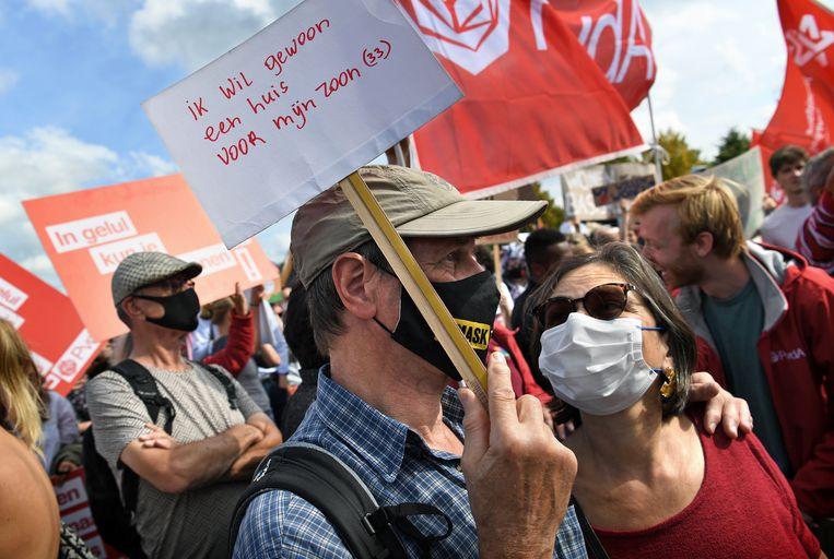 Woonprotest in Amsterdam. Beeld Marcel van den Bergh /de Volkskrant