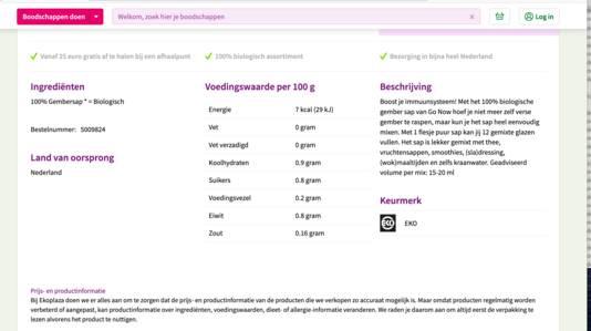 De oude tekst op de site van EkoPlaza.