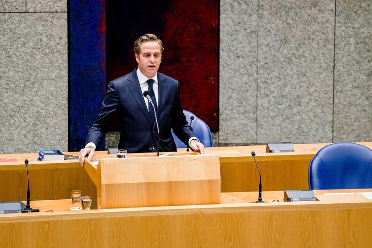 De Jonge dinsdag tijdens het wekelijks vragenuur in de Tweede Kamer. Beeld ANP