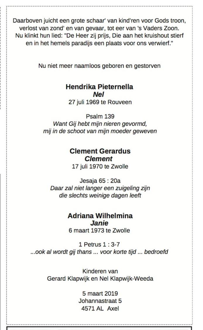 De rouwadvertentie die zaterdag in het Nederlands Dagblad stond.