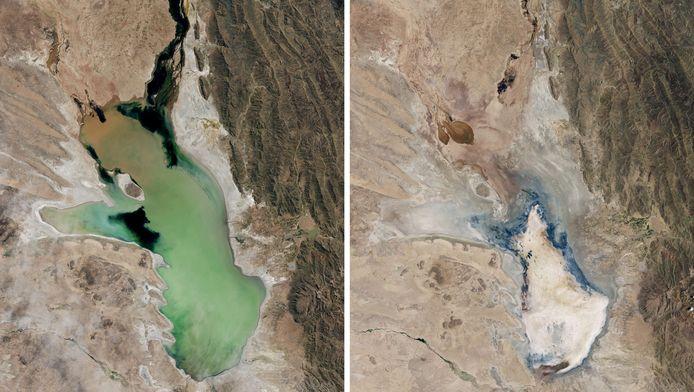 Deze foto's uit 2013 en 2016 tonen het Poopomeer, een ander Boliviaans meer dat opdroogde.