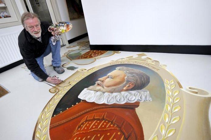 Kees Warmoeskerken heeft de vloer van zijn galerie 2x2 in het teken van Joris van Spilbergen geschilderd. Foto: Robert van den Berge/het fotoburo