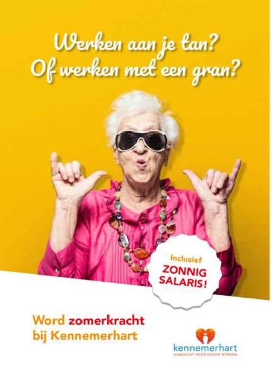 Een van de posters waarmee zorginstelling Kennemerhart jongeren probeert te verleiden tot een vakantiebaan in de ouderenzorg.