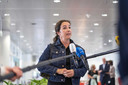 Burgemeester Femke Halsema van Amsterdam woensdag bij het overleg van de veiligheidsregio's over regionale maatregelen tegen de verspreiding van het coronavirus.