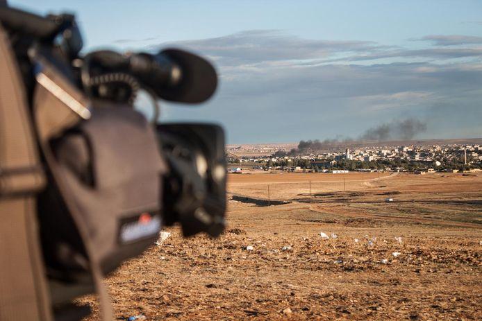 Een videocamera aan de Syrische grens. Archieffoto.