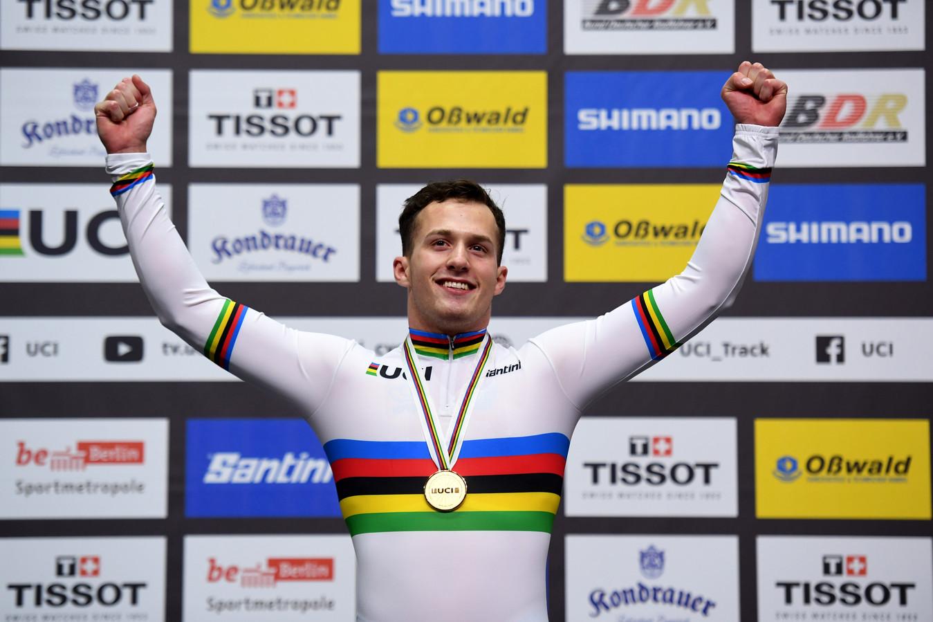 Sam Ligtlee na zijn wereldtitel in Berlijn vorig jaar.