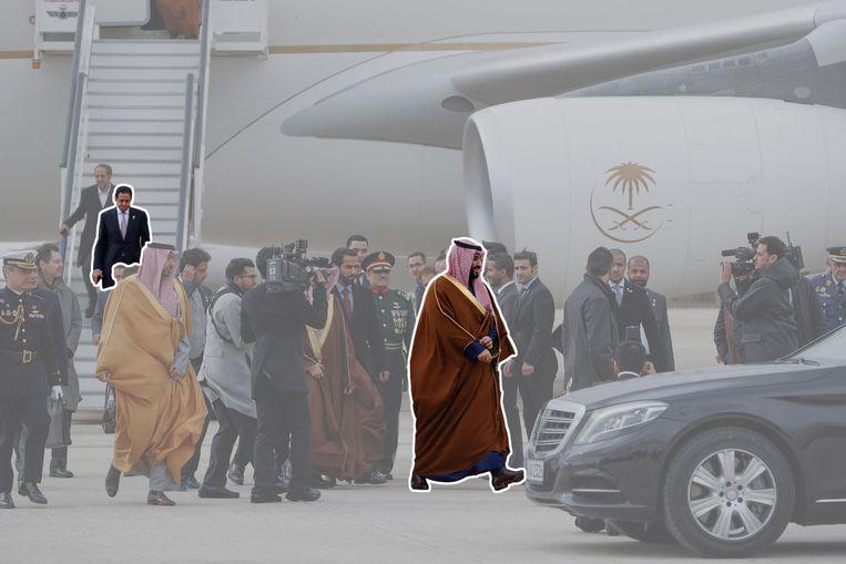 De luchthaven van Madrid, april dit jaar, met links Maher Abdulaziz Mutreb, rechts kroonprins Mohammed bin Salman.