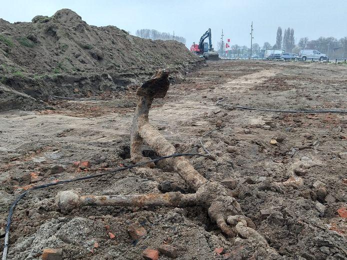 Het gevonden anker bij de Waalkade in Tiel.