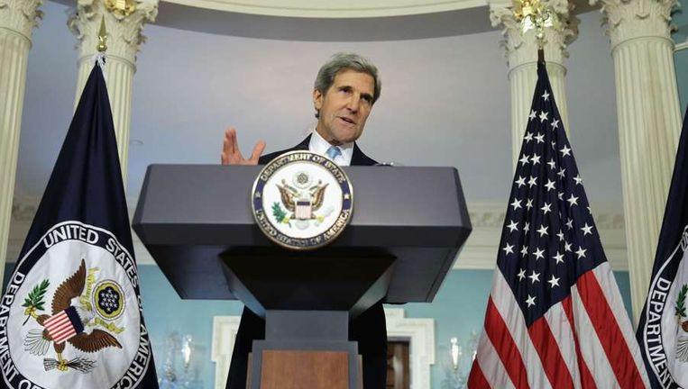 De Amerikaanse minister van Buitenlandse Zaken John Kerry houdt zijn toespraak. Beeld afp