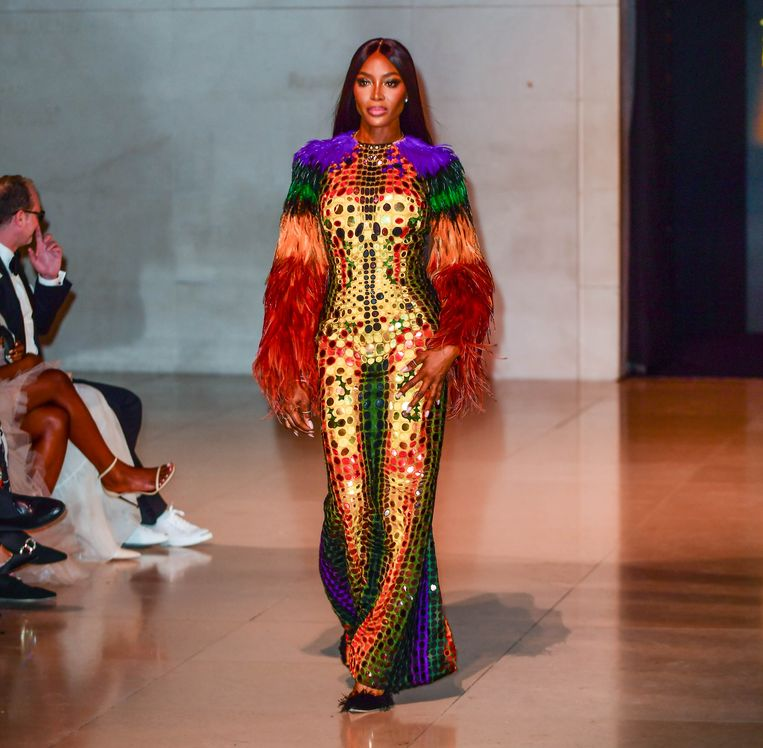 In 2019 stond Naomi Campbell nog op de catwalk van Fashion For Relief tijdens de Londense modeweek. Beeld Brunopress