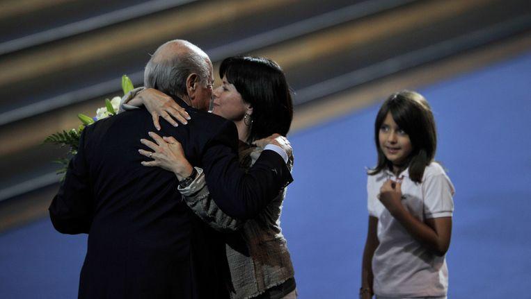 Sepp Blatter met zijn dochter Corinne in 2011. Beeld anp