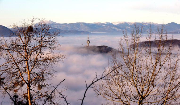 Uitzicht op Sarajevo, een van de meest vervuilde steden ter wereld.  Beeld EPA