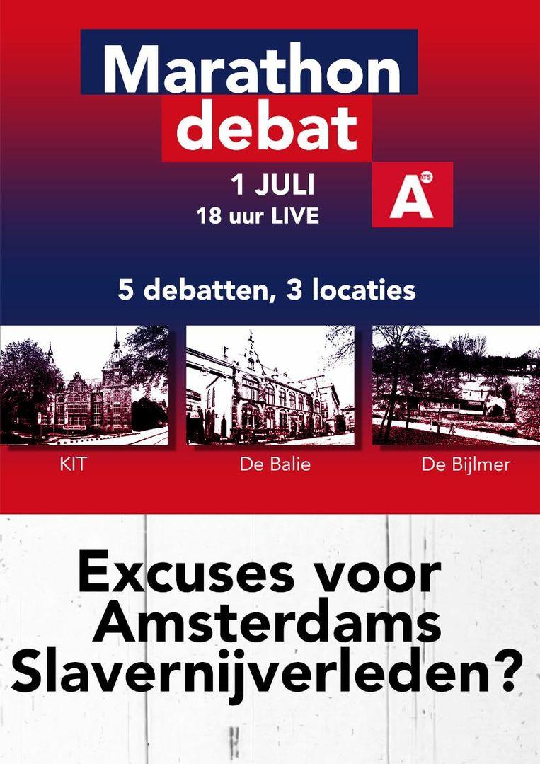 Tijdens het marathondebat van het Keti Koti festival wordt gediscussieerd over de excuses die Femke Halsema namens de stad Amsterdam voor het slavernijverleden zal maken.  Beeld
