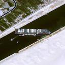 Satellietbeeld van het gestrande schip.