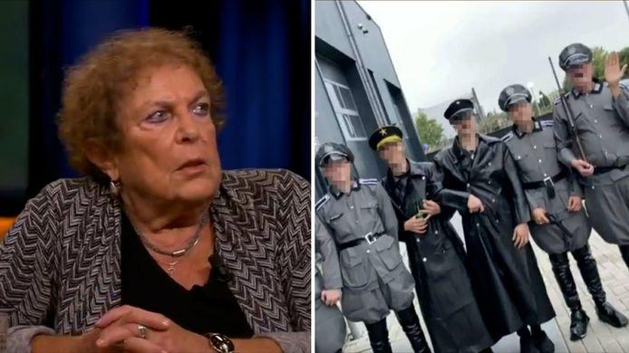 De 80-jarige Joodse Lous Steenhuis-Hoepelman overleefde meerdere concentratiekampen en is zaterdag in gesprek gegaan met de jongeren uit Urk die verkleed als nazi's de straat op gingen.