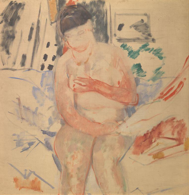 Zittend naakt op de rand van het bed (schets), 1914, olieverf op doek. Beeld rv © Koninklijke Musea voor Schone Kunsten van België, Brussel / foto : J. Geleyns - Ro scan