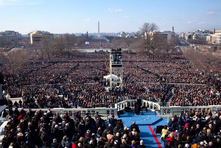 President Obama houdt zijn inauguratiespeech nadat hij is ingezworen als de 44e president van de VS.  Beeld Pete Souza/het Witte Huis