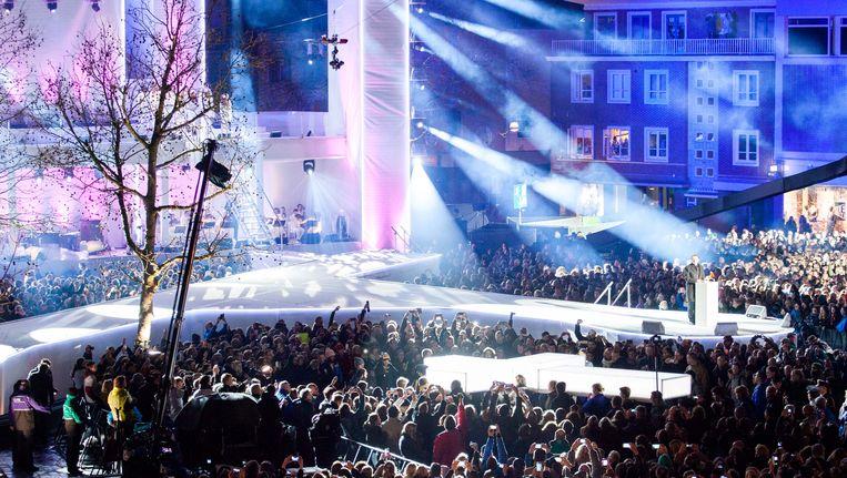 Het podium van The Passion in Enschede gisteren. Beeld ANP Kippa