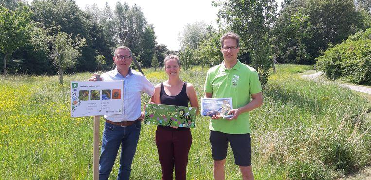 Wouter De Zutter, Silke Willaert en Bruno Remaut in het Vestingpark