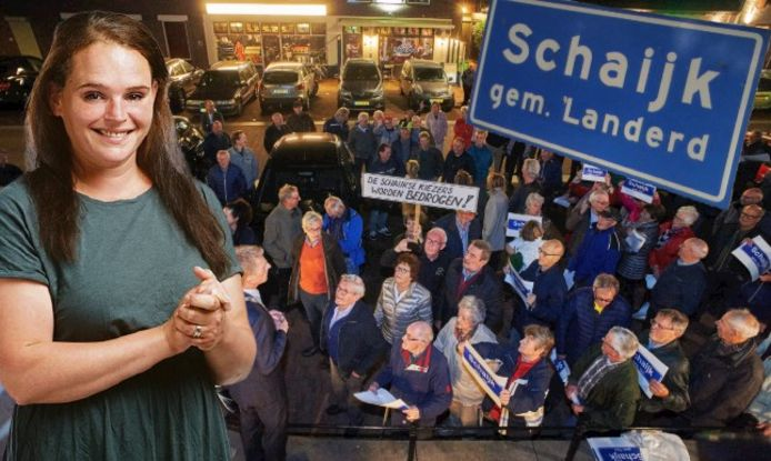 Protest in Schaijk tegen de fusie, in oktober 2019