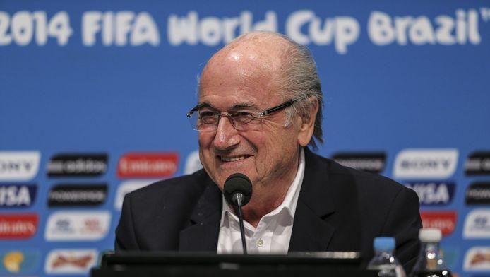 FIFA-voorzitter Sepp Blatter bij het WK voetbal in Brazilië.