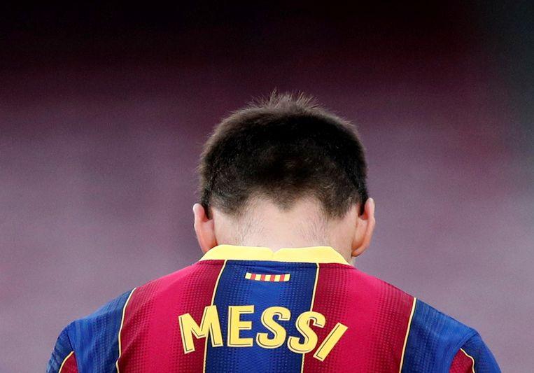 Messi in een wedstrijd van FC Barcelona tegen Celta Vigo op 16 mei.  Beeld REUTERS