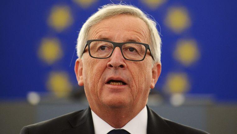 Juncker tijdens zijn eerste State of the Union in het Europees Parlement. Beeld anp